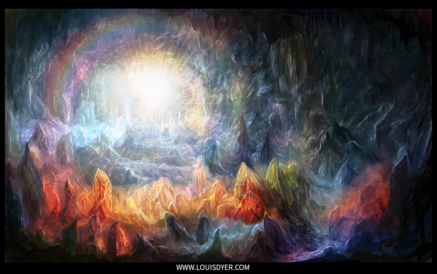 Crystal cave digital painting from visionary artist for Paintings of crystals